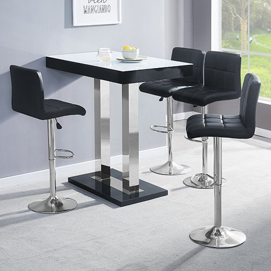 Caprice Black White Glass Bar Table With 4 Coco Black Stools