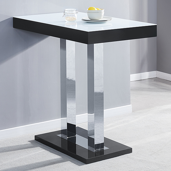 Caprice Black White Glass Bar Table With 4 Ripple White Stools_2