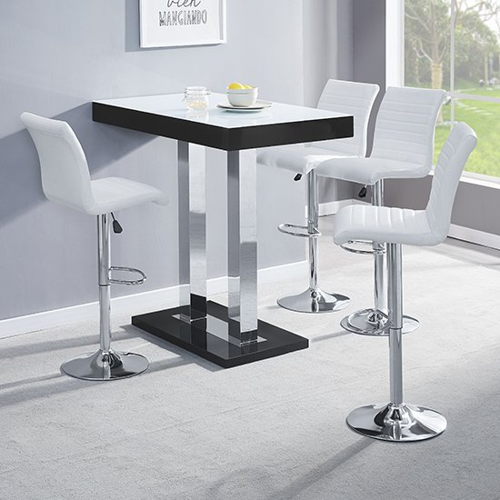 Caprice Black White Glass Bar Table With 4 Ripple White Stools