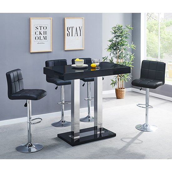 Caprice Glass Bar Table In Black With 4 Coco Black Stools