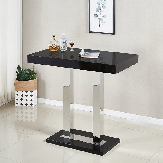 Caprice Glass Bar Table In Black And Stainless Steel Support