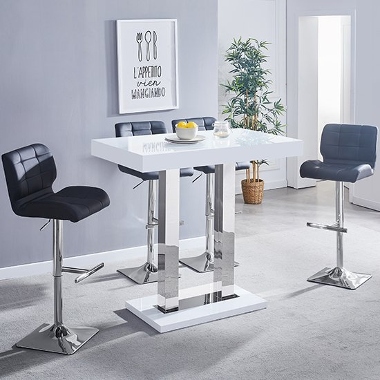 View Caprice white gloss bar table with 4 candid black bar stools