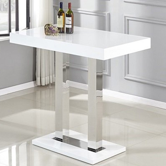 Caprice White Gloss Bar Table With 4 Candid Grey Bar Stools_2