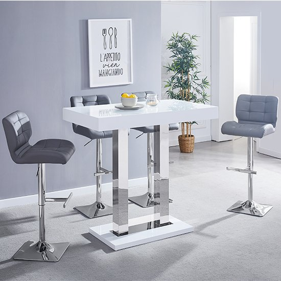 Caprice White Gloss Bar Table With 4 Candid Grey Bar Stools