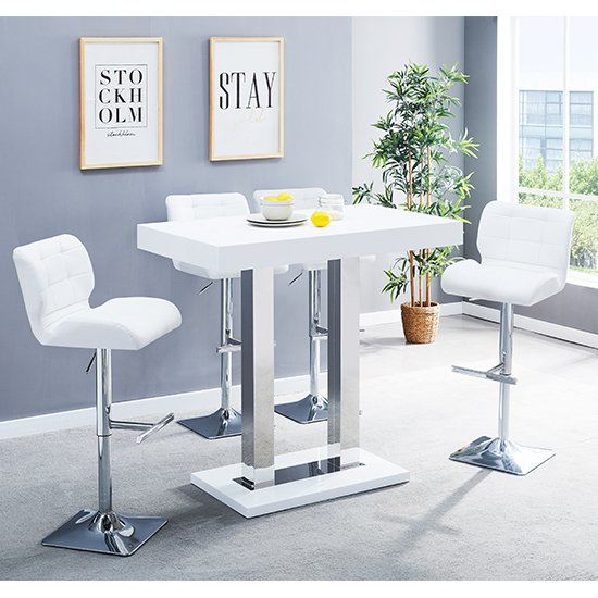 View Caprice white gloss bar table with 4 candid white bar stools