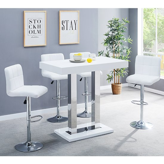 View Caprice white gloss bar table with 4 coco white bar stools