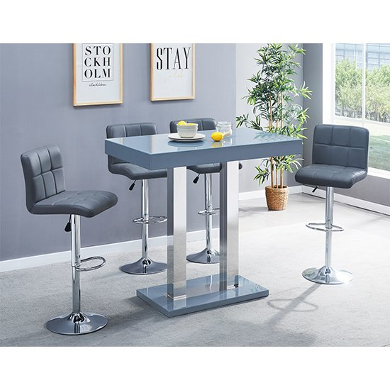 Caprice Glass Bar Table In Grey With 4 Coco Grey Stools