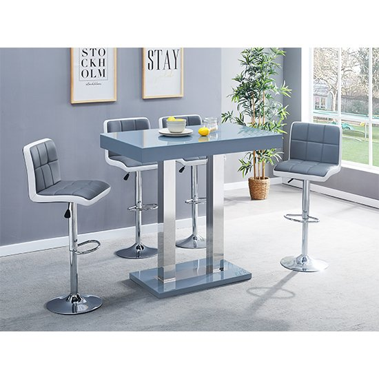 Caprice Glass Bar Table In Grey With 4 Grey White Copez Stools