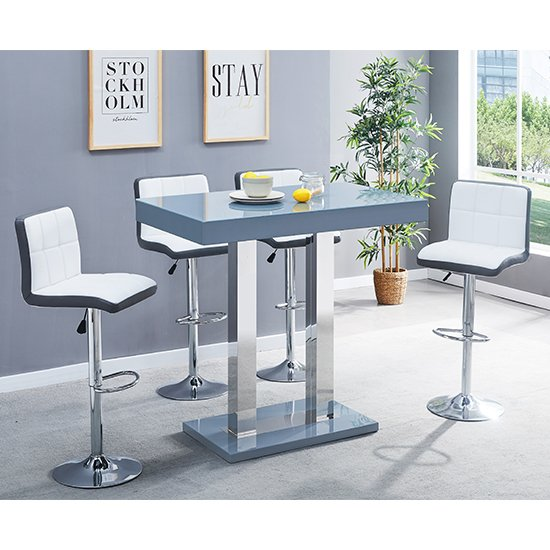 Caprice Glass Bar Table In Grey With 4 White Grey Copez Stools