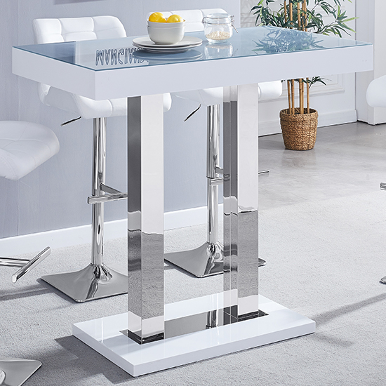 Caprice White Grey Glass Bar Table With 4 Candid Grey Stools_2