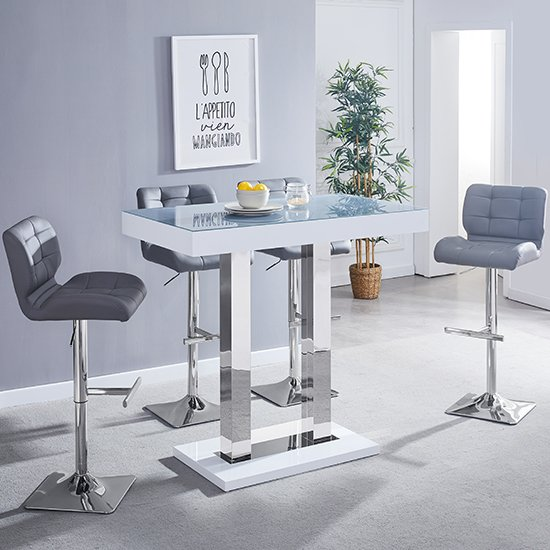 Caprice White Grey Glass Bar Table With 4 Candid Grey Stools_1