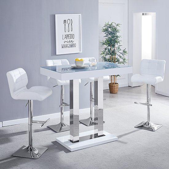 Caprice White Grey Glass Bar Table With 4 Candid White Stools