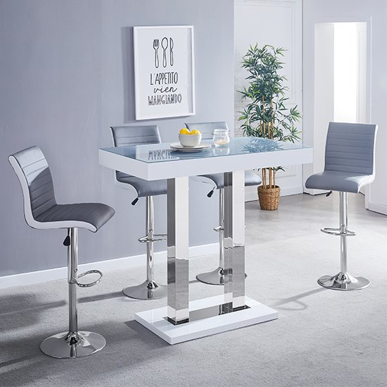 Caprice White Grey Glass Bar Table With 4 Ritz Grey White Stools
