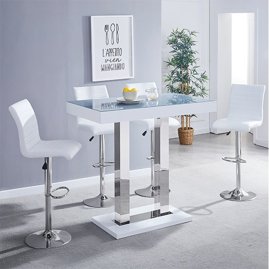 Caprice Grey Glass Bar Table In White Gloss 4 White Ripple Stool