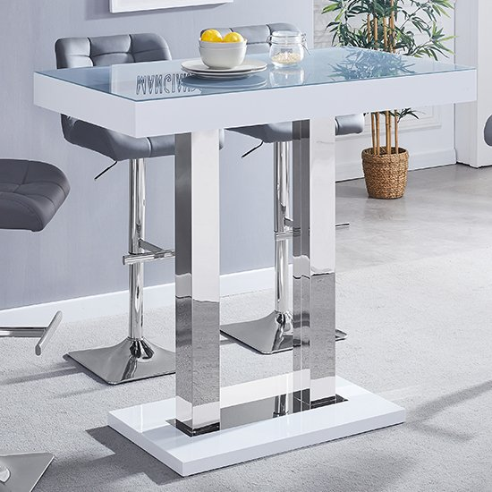Caprice White Grey Glass Bar Table With High Gloss