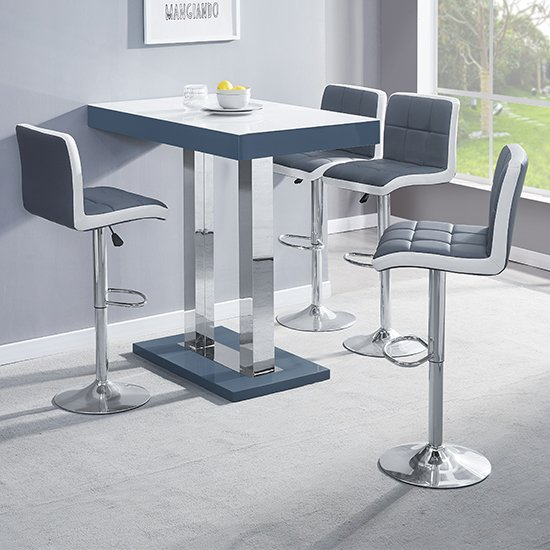 Caprice Grey White Gloss Bar Table With 4 Copez Grey White Stool_1