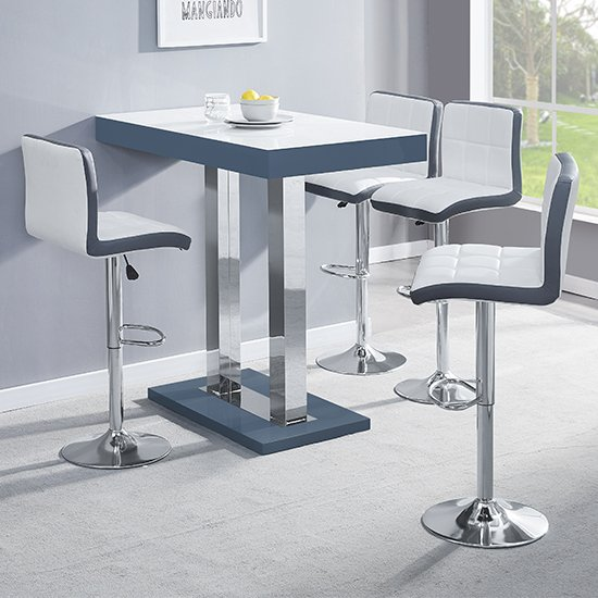 Caprice Grey White Gloss Bar Table With 4 Copez White Grey Stool