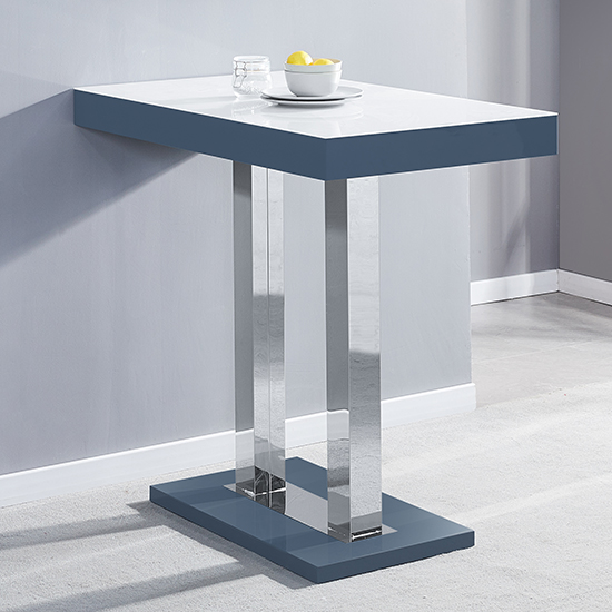 Caprice Grey White Gloss Bar Table With 4 Candid Grey Stools_2