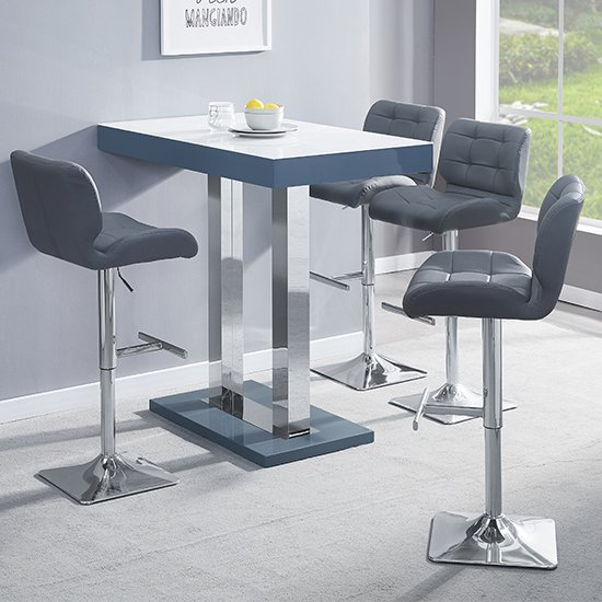 Caprice Grey White Gloss Bar Table With 4 Candid Grey Stools_1