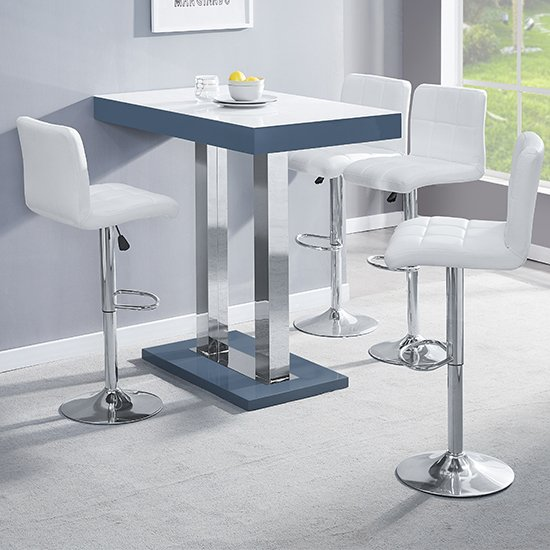 Caprice Grey White Gloss Bar Table With 4 Coco White Stools