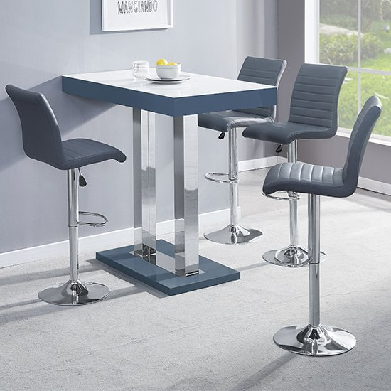 Caprice Grey White Gloss Bar Table With 4 Ripple Grey Stools