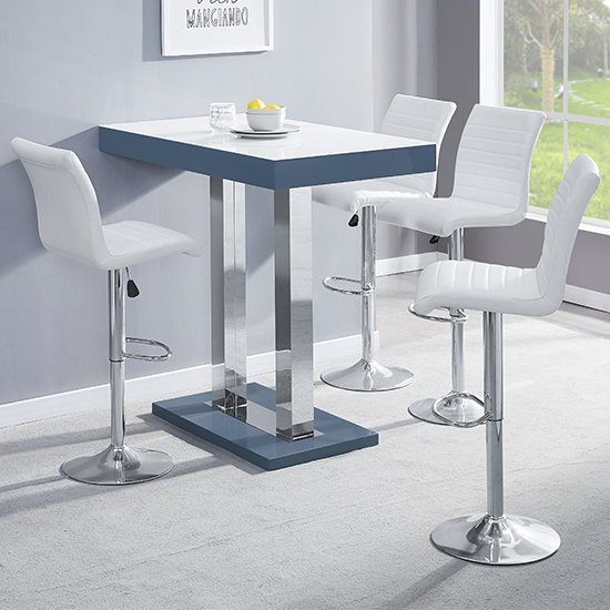 Caprice Grey White Gloss Bar Table With 4 Ripple White Stools