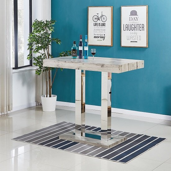 Caprice Bar Table In Grey Oak Effect And Stainless Steel Support_1