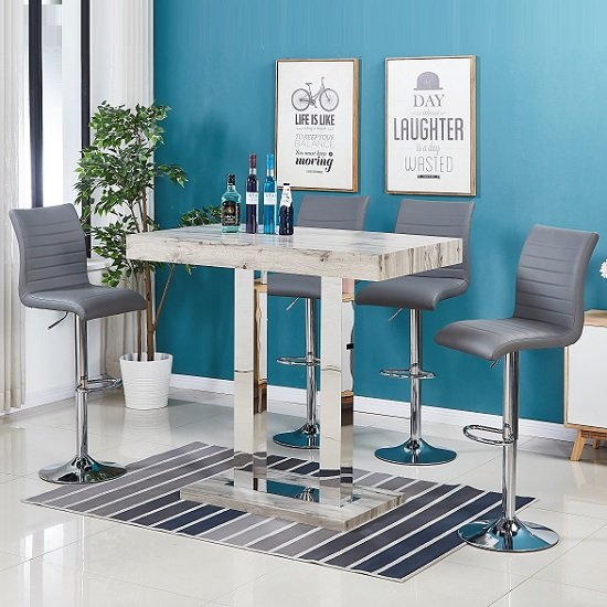 Caprice Modern Bar Table In Grey Oak Effect And 4 Ripple Stools