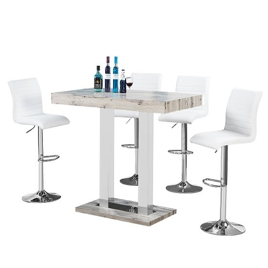 Caprice Bar Table In Grey Oak Effect And 4 Ripple White Stools_2