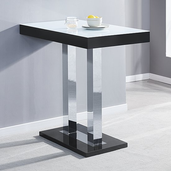 Caprice Black White Glass Bar Table With High Gloss