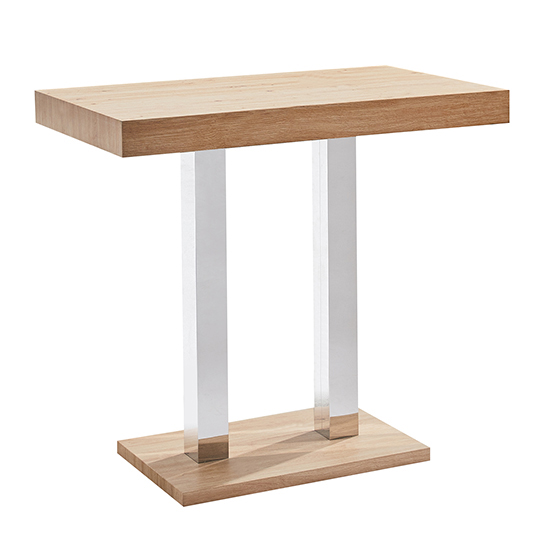 Caprice Wooden Bar Table In Oak With 4 Coco Grey Stools_2