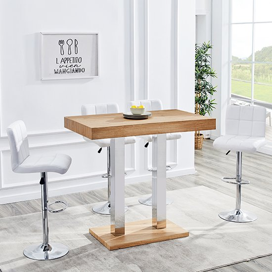 Caprice Wooden Bar Table In Oak With 4 Coco White Stools_1