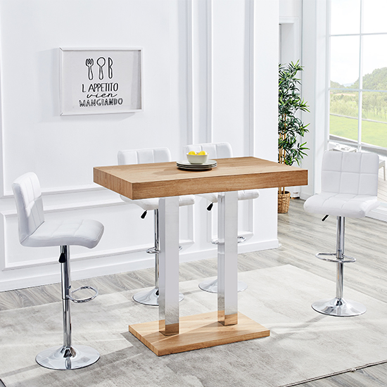 Caprice Wooden Bar Table In Oak With Stainless Steel Legs_3