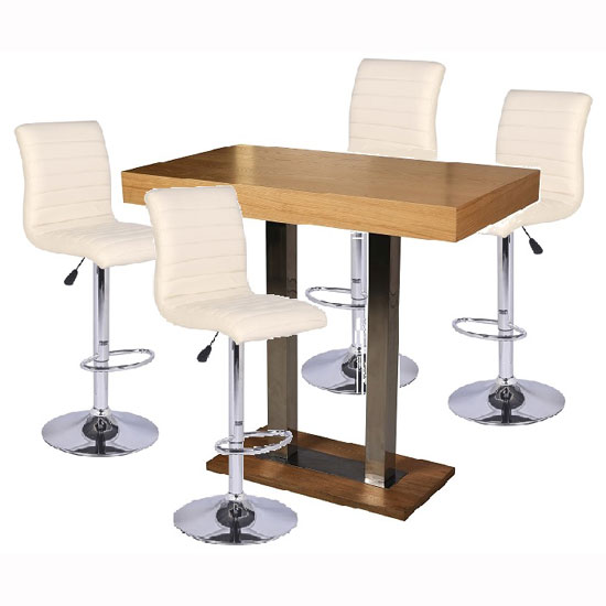 Caprice Bar Table In Oak With 4 Ripple Cream Stools