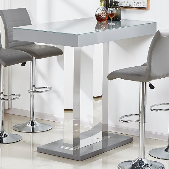 kitchen bar furniture caprice glass bar table in grey high gloss and stainless 12910