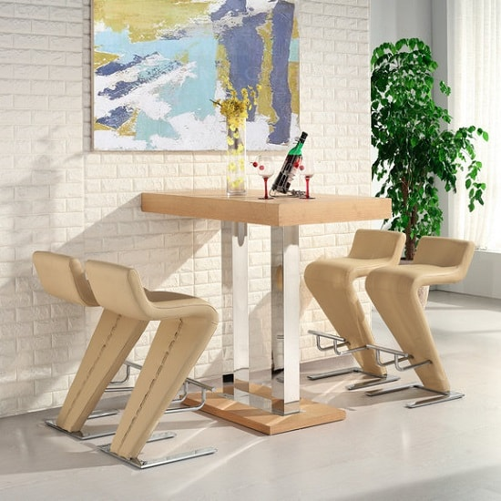 caprice bar table in oak with 4 farello yellow bar stools