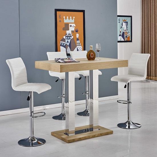 Amarelo Rectangular Wooden Bar Table With 4 Longo Bar Stools