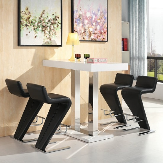 Caprice Bar Table In White Gloss And 4 Farello Black Bar Stools