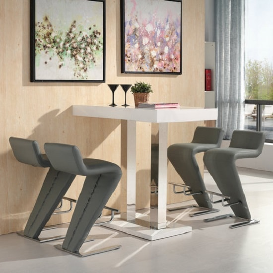 White Bar Table And Stools: Caprice Bar Table In White Gloss And 4 Farello Grey Bar