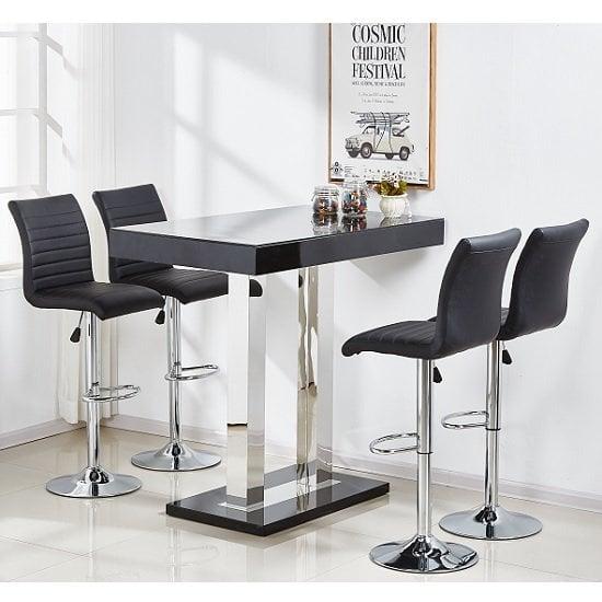 Caprice Glass Bar Table Set In Black Gloss 4 Ripple Bar : capriceblackbartablerippleblack from www.furnitureinfashion.net size 550 x 550 jpeg 75kB