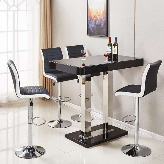 Caprice Glass Bar Table In Black Gloss With 4 Ritz Black Stools