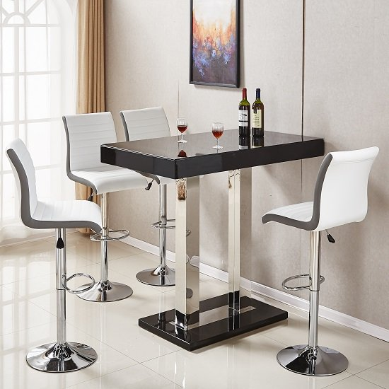 Caprice Glass Bar Table In Black Gloss With 4 Ritz White