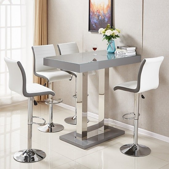 Glass Bar Stools: Caprice Glass Bar Table In Grey Gloss With 4 Ritz White