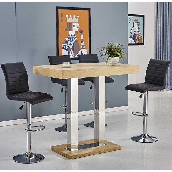 Read more about Caprice bar table in oak with 4 ripple black bar stools