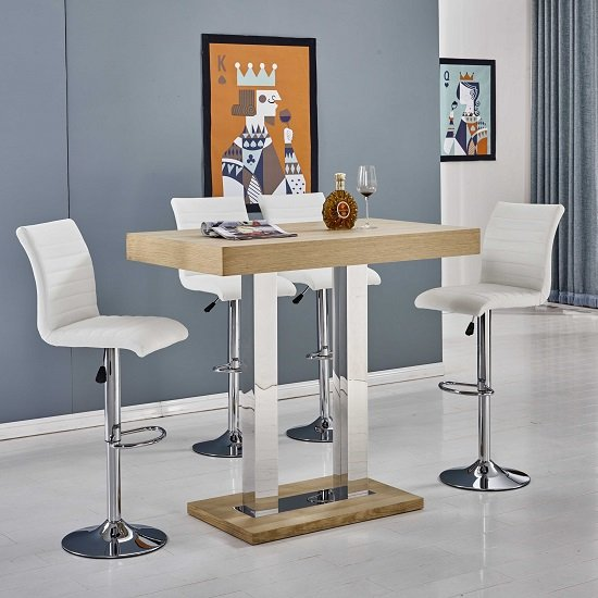 Caprice Bar Table In Oak With 4 Ripple White Bar Stools_2