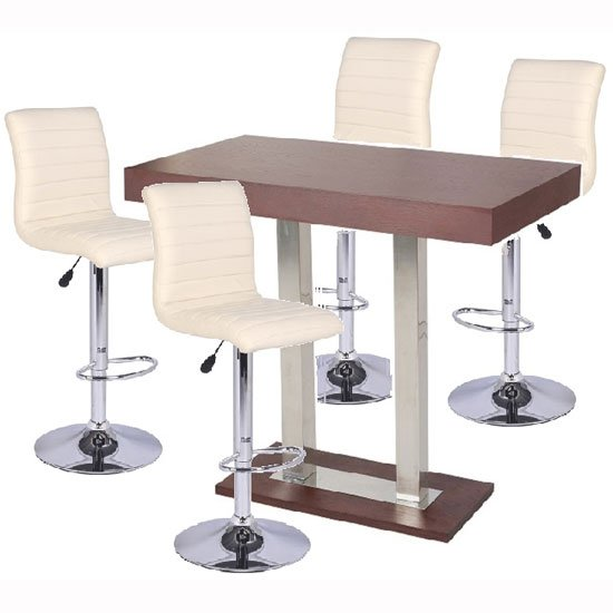 Caprice bar table in wenge with 4 ripple cream bar stools - Table basse bar wenge ...