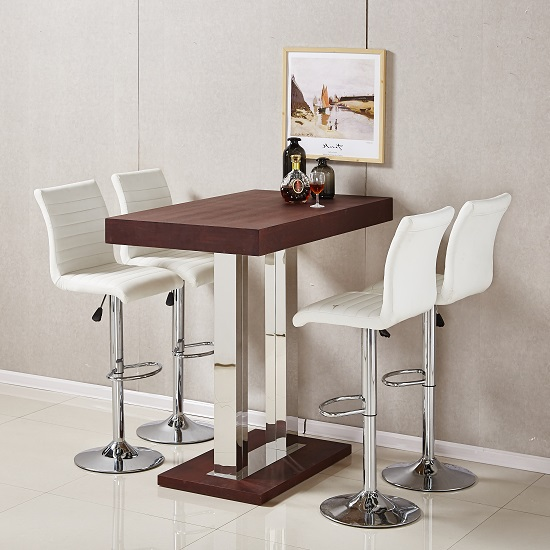 Caprice bar table in wenge with 4 ripple white bar stools for Table basse bar wenge