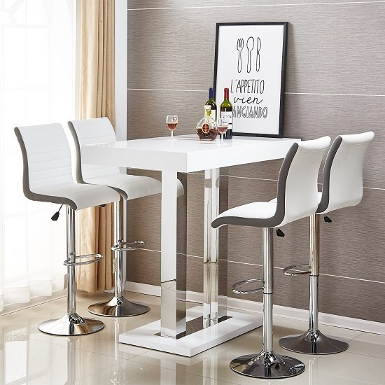 Caprice Bar Table In White Gloss With 4 Ritz Stools 31436