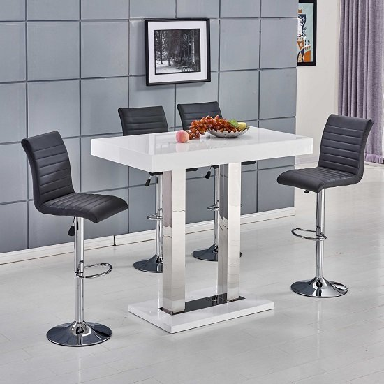 Caprice Bar Table In White Gloss With 4 Ripple Black Bar Stools