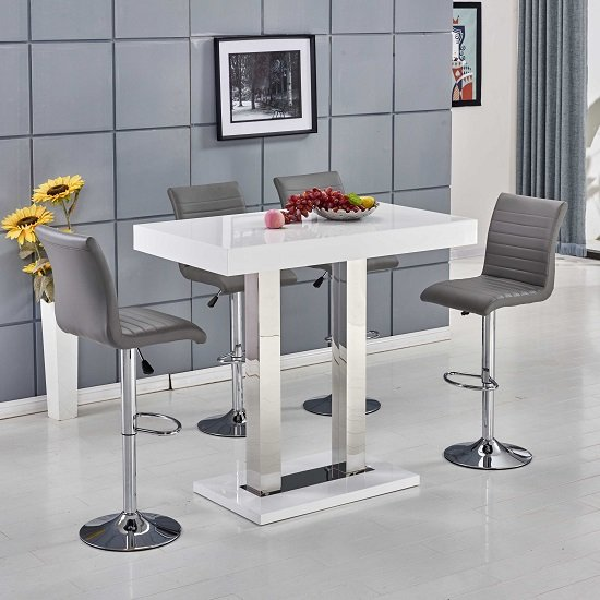 White Bar Table And Stools: Caprice Bar Table In White Gloss With 4 Ripple Grey Bar